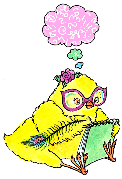 Chick wearing Magenta glasses and rose, with a feather quill in one wing and notebook in the other is thinking up great thoughts.
